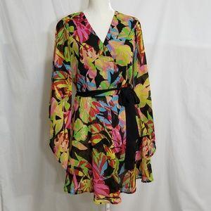 Tropical Wrap Tunic Kimono Dress